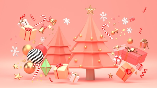 Kerstboomontwerp voor kerstvakantie versieren door ornament geometrische vorm en geschenkdoos.