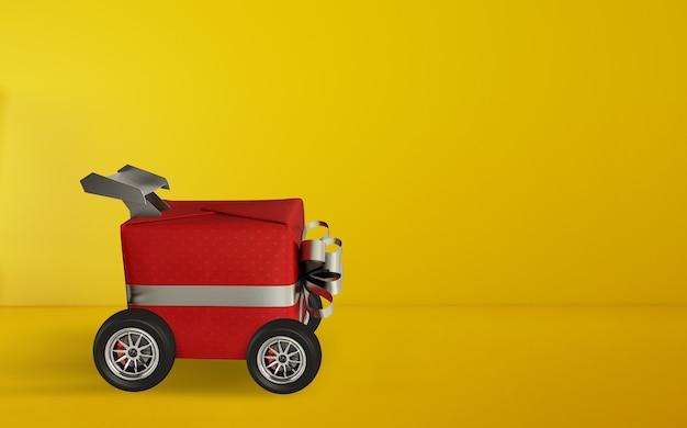 Kerstcadeau als een auto. concept van prioriteit en snelle levering