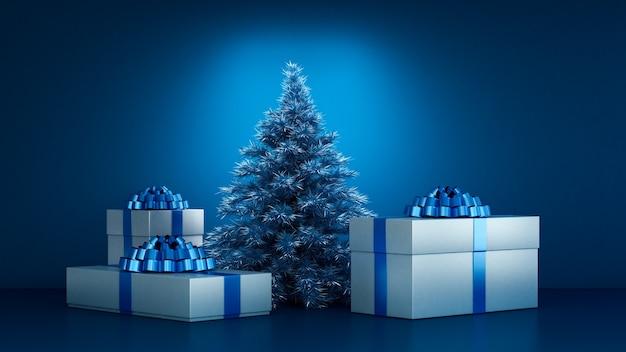 Kerstcadeautjes onder de kerstboom 3d-afbeelding rendering