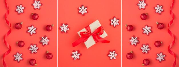 Kerstcollage. geschenkdoos, sneeuwvlokken, rode ballen en lint op de rode achtergrond