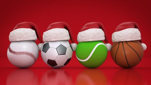 Kerstconcept sportballen 3d-rendering