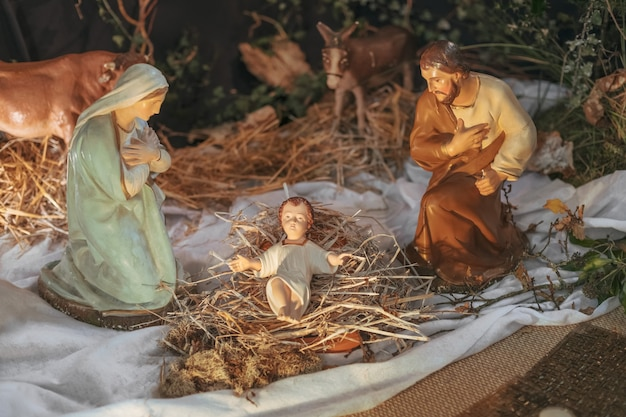 Kerstcrèche met jozef maria en jezus