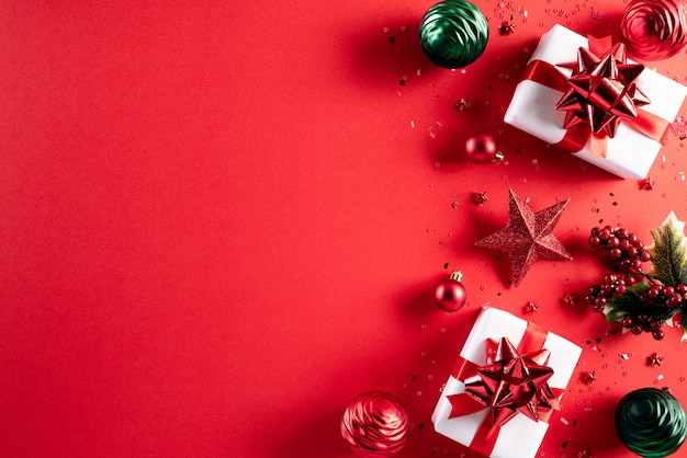 Kerstdecoratie achtergrond met kopie ruimte.