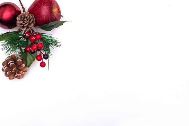 Kerstdecoratie dennen tak in sneeuw en dennenappel op witte achtergrond
