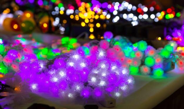 Kerstdecoratie lichten, xmas garland close-up
