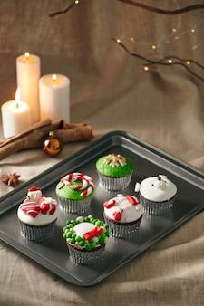 Kerstdecoratie op cupcakes