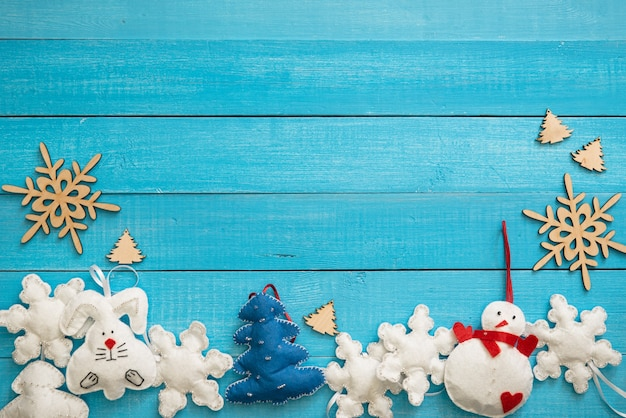 Kerstdecoratie op het houten oppervlak