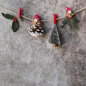 Kerstdecoratie opknoping op touw