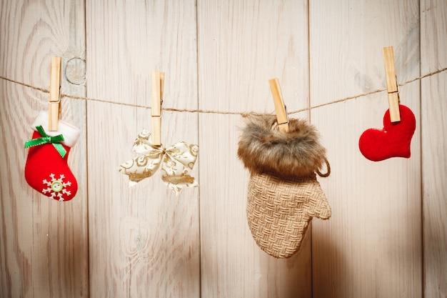 Kerstdecoratie over houten