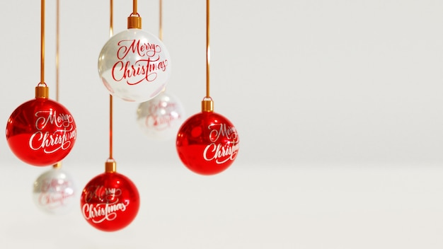 Kerstgroet met realistische bal decoratie-elementen