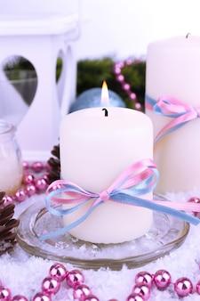Kerstkaarsen van dichtbij