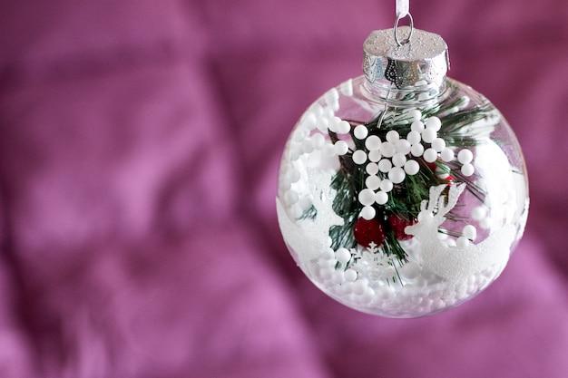 Kerstkaart, cristmasachtergrond, decoratie, hoogste mening met exemplaarruimte