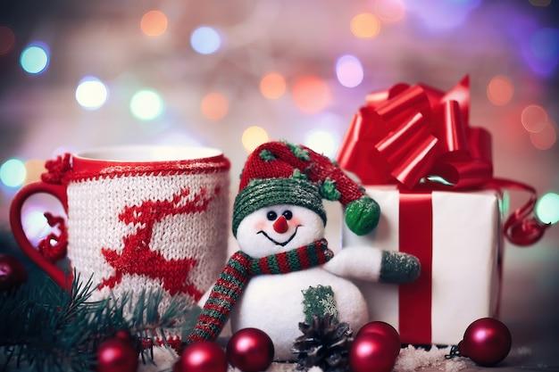 Kerstkaart. kerstmok en leuke cadeaus .photo met plaats voor tekst