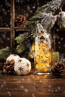 Kerstkaart met chrismas ligh
