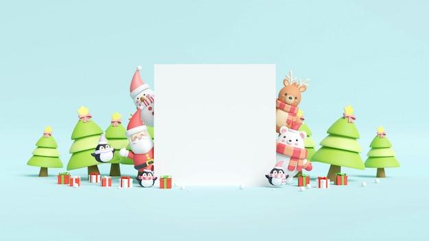 Kerstkaart met santa, beer en geschenkdozen