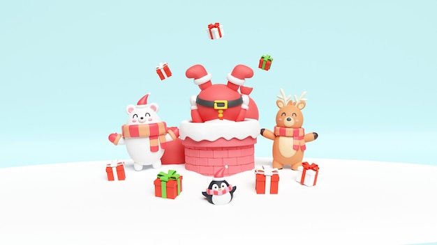 Kerstkaart met santa, beer en rendieren