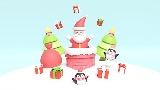 Kerstkaart met santa en een schoorsteen