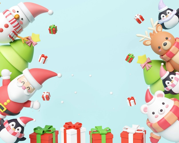 Kerstkaart met santa en geschenkdozen