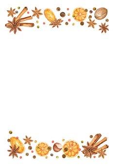Kerstkader van sinaasappelen, anijssterren, peper en pijpjes kaneel. hand getrokken vakantie achtergrond
