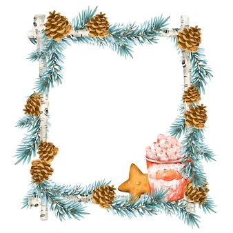 Kerstkrans in vintage stijl. vakantie frame met vuren tak, warme drank, chocolade, marshmallows, cookie geïsoleerd op een witte achtergrond