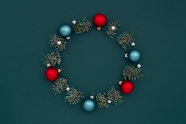 Kerstkrans of frame van new year's decoraties
