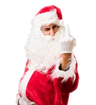 Kerstman die een lelijke gebaar