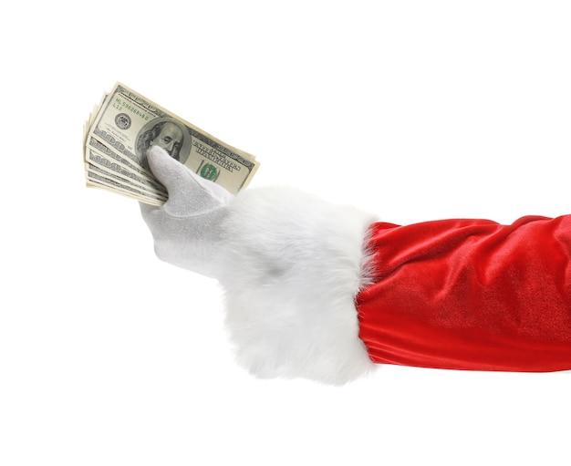 Kerstman die geld aanhoudt op witte achtergrond