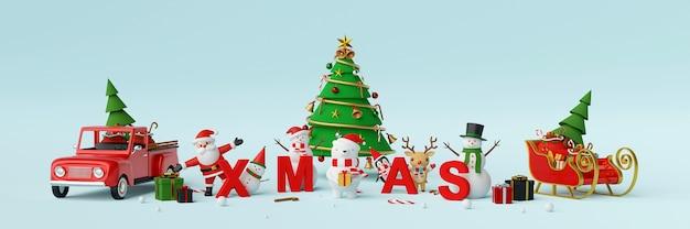 Kerstman en kerstmiskarakter met het 3d teruggeven van brieven kerstmis