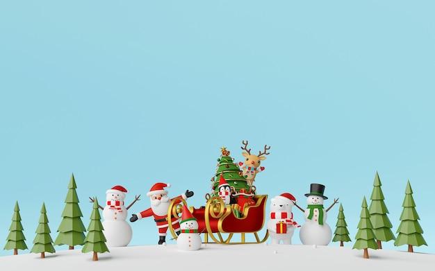 Kerstman en vrienden met slee vol geschenken op dennenbos achtergrond