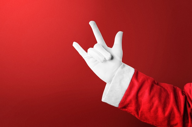 Kerstman met een handgebaar. vrolijk kerstfeest