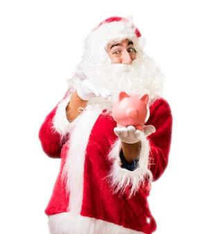 Kerstman met een peggy bank