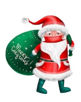 Kerstman met gebruiksmasker. digitale afbeelding, geïsoleerd op wit.