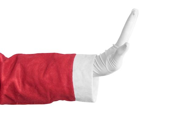 Kerstman met handgebaar geïsoleerd op witte achtergrond