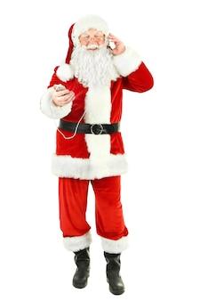 Kerstman met koptelefoon geïsoleerd