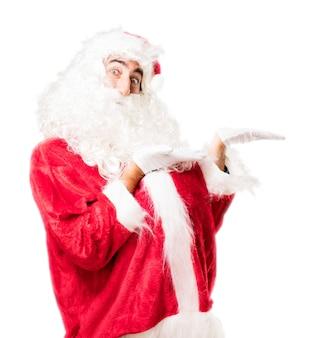 Kerstman met zijn twee palmen omhoog
