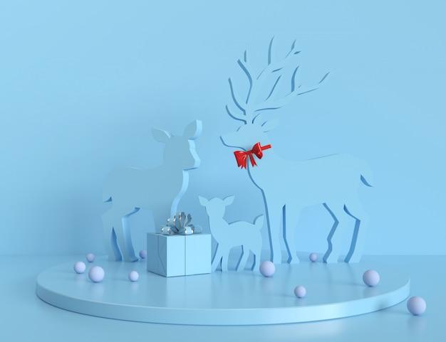 Kerstmis 3d teruggevende scènepodiumvertoning met kerstmis heeft abstracte achtergrond bezwaar.