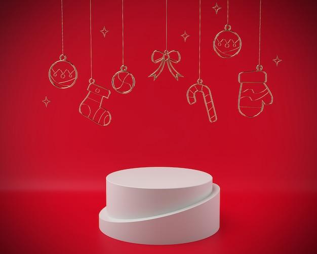 Kerstmis 3d teruggevende scènepodiumvertoning met kerstmisobjecten samenvatting.