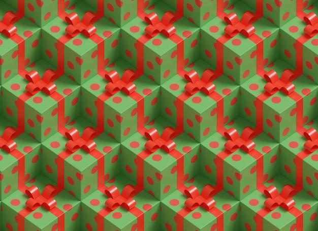 Kerstmis achtergrond. isometrisch naadloos patroon van groene en rode geschenkdozen.