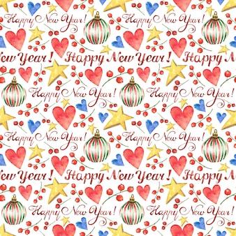 Kerstmis achtergrond met de inscriptie happy new year getekend