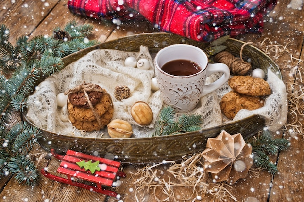Kerstmis behandelt en decor