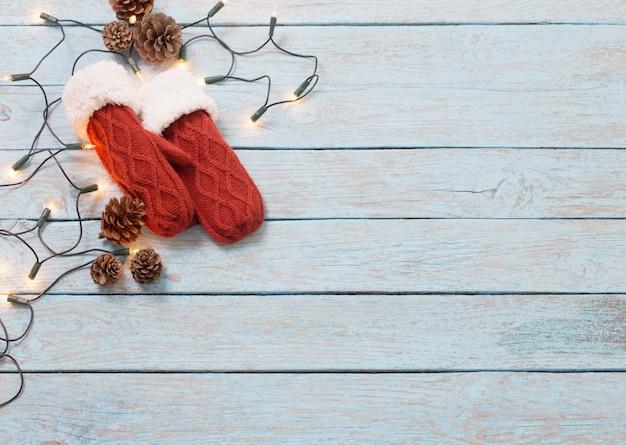 Kerstmis blauwe houten achtergrond