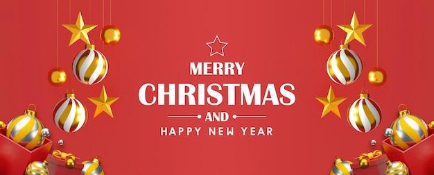 Kerstmis en gelukkig nieuwjaar achtergrond 3d illustratie