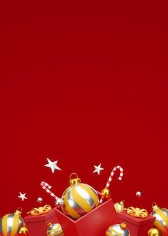 Kerstmis en gelukkig nieuwjaar achtergrond met feestelijke decoratie en kopie ruimte. 3d illustratie