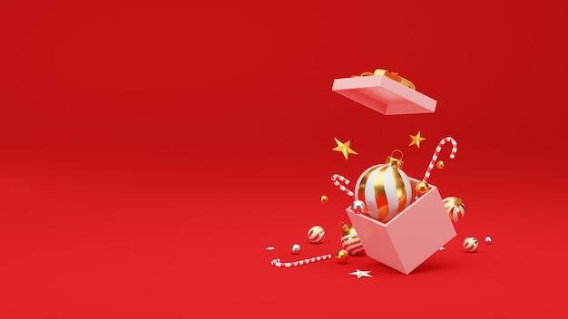 Kerstmis en gelukkig nieuwjaar achtergrond met feestelijke decoratie en kopie ruimte.