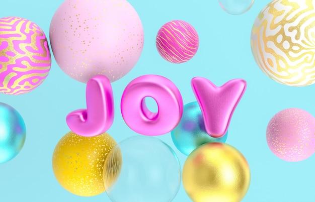 Kerstmis en gelukkig nieuwjaar achtergrond met mooie geometrische ballonnen. 3d render.