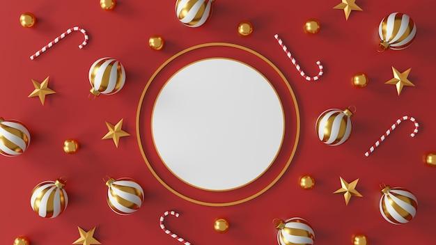Kerstmis en gelukkig nieuwjaar decoraties met een gouden zilveren bal en gouden ster op rode achtergrond. 3d illustratie