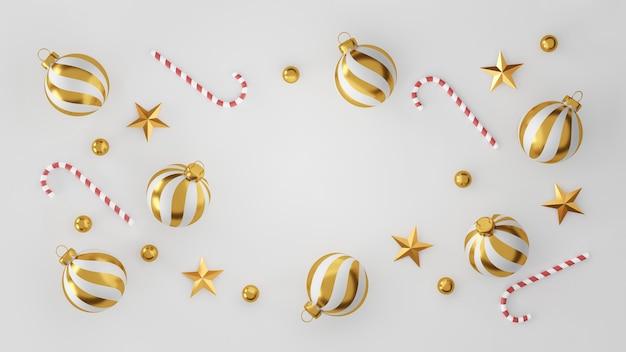 Kerstmis en gelukkig nieuwjaar decoraties met een gouden zilveren bal en gouden ster op witte achtergrond. 3d illustratie