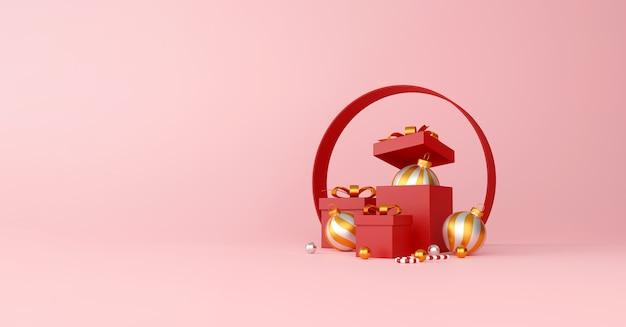 Kerstmis en gelukkig nieuwjaar decoraties met een rode geschenkdoos, gouden zilveren bal en gouden ster op rode achtergrond. 3d illustratie