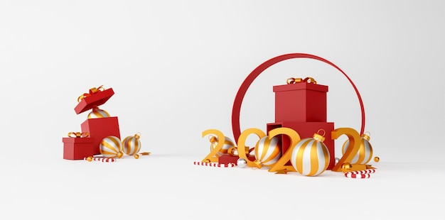 Kerstmis en gelukkig nieuwjaar decoraties met een rode geschenkdoos, gouden zilveren bal en gouden ster op witte achtergrond. 3d illustratie