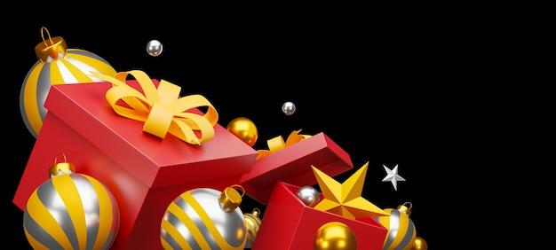 Kerstmis en gelukkig nieuwjaar op zwarte achtergrond. uitknippad. 3d illustratio